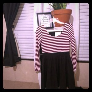 Long-sleeve Black and Red/White Stripped Dress